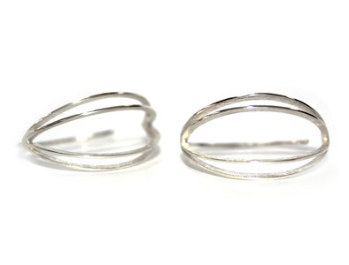 Dubbele maanoorbellen zilver